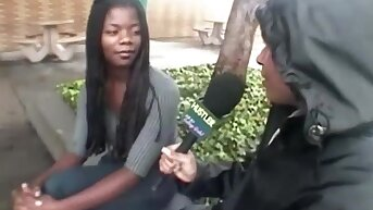 adorable ebony young cutie gets gangbanged apart from white guys for college book declaratory