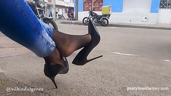 Pantyhose Legs in the Streets of Colombia