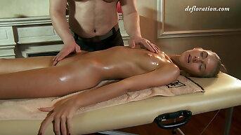 Sweet virgin pussy toddler Masha Roofkina massaged