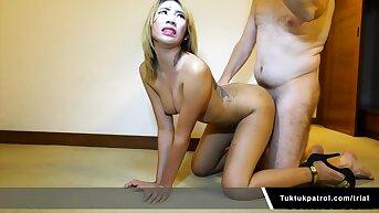 Thai Floosie Sucking And Fucking Big White Cock