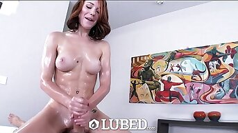 LUBED - Juicy pussy, wet mouth and shiny boots connected with Raylin Ann
