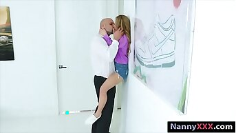 Small tits blonde teen babysitter Lilly railed by big bushwa