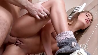 Undersized Russian teen Alessandra Jane has hot morning sex in the go to the powder-room