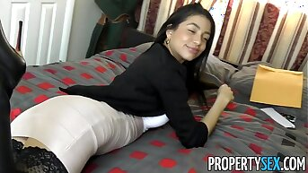 PropertySex - Squirting real estate agent cheers up her client with amazing sexual intercourse