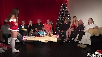 Old Young Orgy 9 Old Living souls 2 Teens hardcore Christmas group fuck special