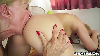 Young and old lesbian love with dildo fun