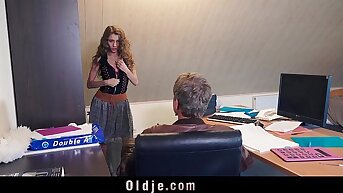 Sexy young secretary blackmails say no to venerable boss for dirty fianc� facial