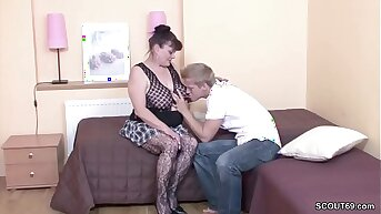 Young Pal Seduce His Grandma in get First Fuck