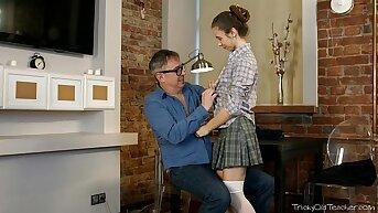Tricky Old Teacher - Nastya's try for of flirting