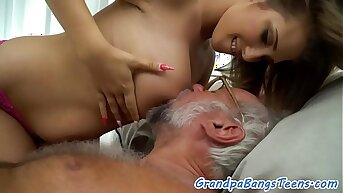 Lord it over young coddle pleasing grandpas cock
