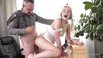 Tricky Venerable Teacher - Cute blonde works hard to get education