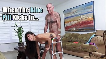 BLUE PILL Forebears Public - Michelle Martinez Fucked Apart from Geriatric Stud Who's Still Slinging Dick In His Old Age
