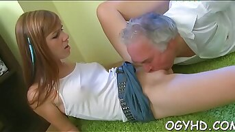 Devil-may-care young girl drilled by old rod