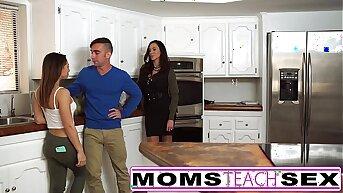 Mummy fucks son and tight dense Latina girlfriend